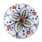 Blue Hand-Painted Floral Knob